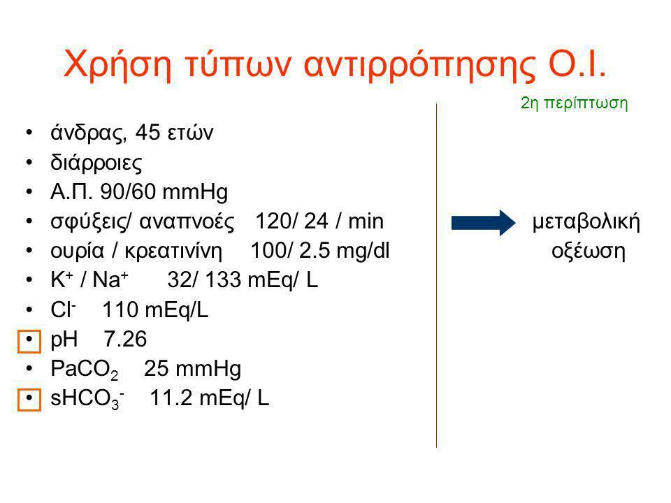Χρήση τύπων αντιρρόπησης Ο.Ι. άνδρας, 45 ετών διάρροιες Α.Π. 90/60 mmHg σφύξεις/ αναπνοές 120/ 24 / min μεταβολική ουρία / κρεατινίνη 100/ 2.5 mg/dl ο