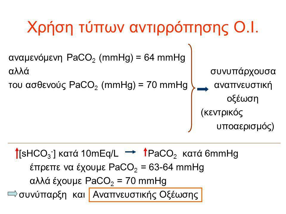Χρήση τύπων αντιρρόπησης Ο.Ι. αναμενόμενη PaCO 2 (mmHg) = 64 mmHg αλλά συνυπάρχουσα του ασθενούς PaCO 2 (mmHg) = 70 mmHg αναπνευστική οξέωση (κεντρικό