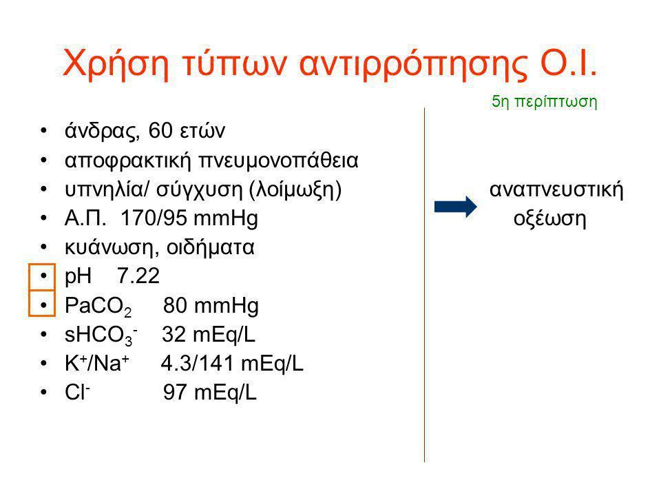 Χρήση τύπων αντιρρόπησης Ο.Ι. άνδρας, 60 ετών αποφρακτική πνευμονοπάθεια υπνηλία/ σύγχυση (λοίμωξη) αναπνευστική Α.Π. 170/95 mmHg οξέωση κυάνωση, οιδή