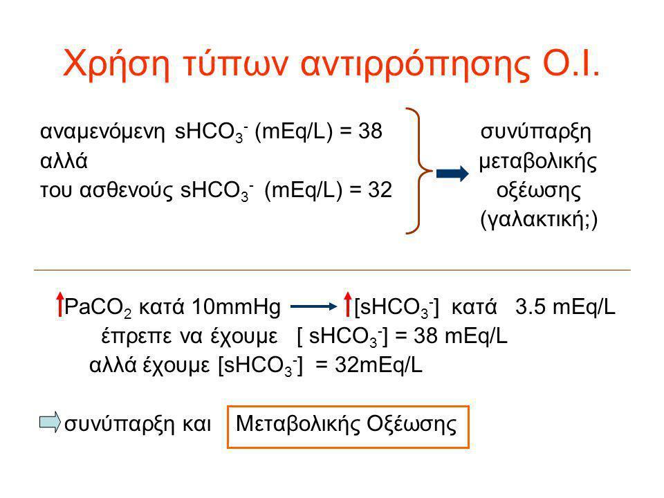 Χρήση τύπων αντιρρόπησης Ο.Ι. αναμενόμενη sHCO 3 - (mEq/L) = 38 συνύπαρξη αλλά μεταβολικής του ασθενούς sHCO 3 - (mEq/L) = 32 οξέωσης (γαλακτική;) PaC