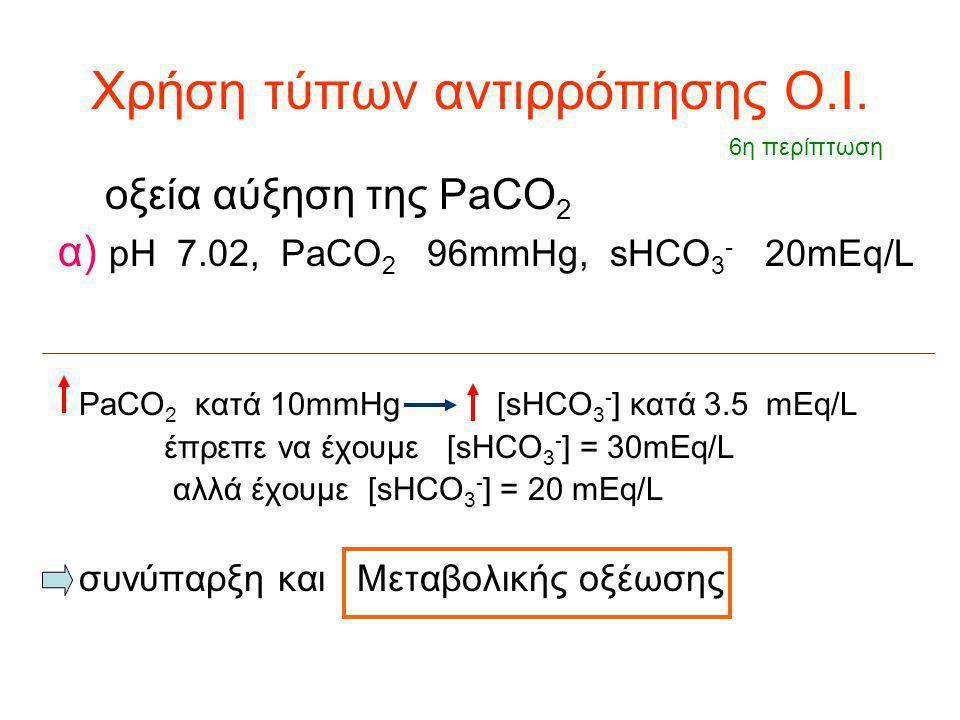 Χρήση τύπων αντιρρόπησης Ο.Ι. οξεία αύξηση της PaCO 2 α) pH 7.02, PaCO 2 96mmHg, sHCO 3 - 20mEq/L PaCO 2 κατά 10mmHg [sHCO 3 - ] κατά 3.5 mEq/L έπρεπε