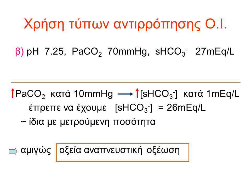 Χρήση τύπων αντιρρόπησης Ο.Ι. β) pH 7.25, PaCO 2 70mmHg, sHCO 3 - 27mEq/L PaCO 2 κατά 10mmHg [sHCO 3 - ] κατά 1mEq/L έπρεπε να έχουμε [sHCO 3 - ] = 26