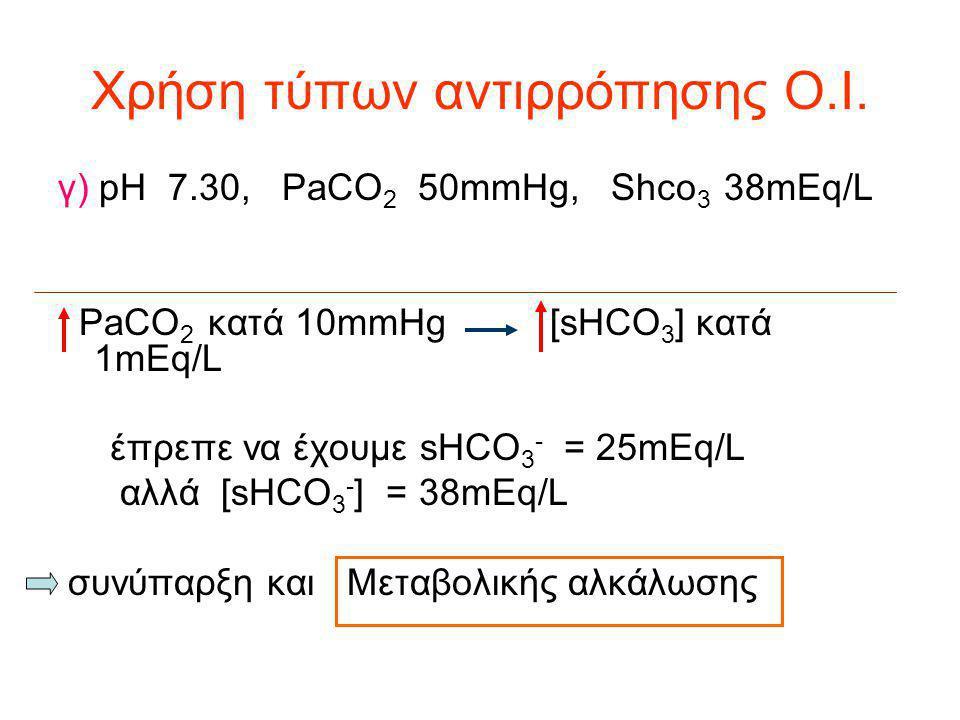 Χρήση τύπων αντιρρόπησης Ο.Ι. γ) pH 7.30, PaCO 2 50mmHg, Shco 3 38mEq/L PaCO 2 κατά 10mmHg [sHCO 3 ] κατά 1mEq/L έπρεπε να έχουμε sHCO 3 - = 25mEq/L α