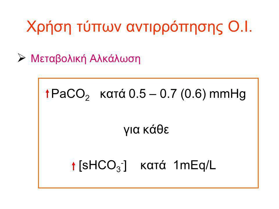 Χρήση τύπων αντιρρόπησης Ο.Ι.  Μεταβολική Αλκάλωση PaCO 2 κατά 0.5 – 0.7 (0.6) mmHg για κάθε [sHCO 3 - ] κατά 1mEq/L