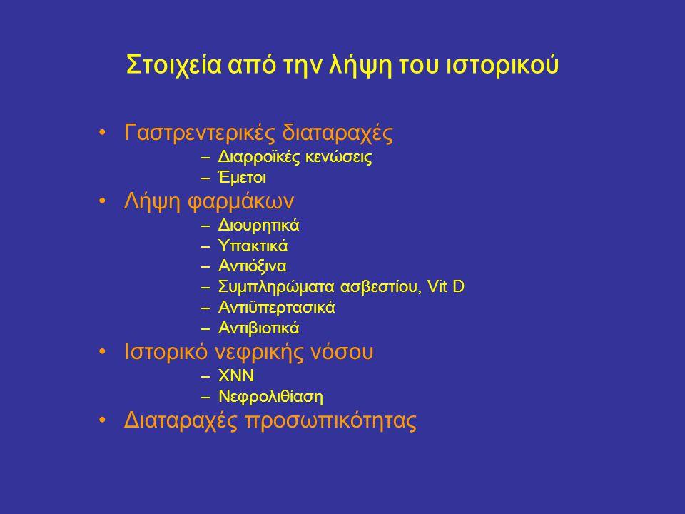 Στοιχεία από την λήψη του ιστορικού Γαστρεντερικές διαταραχές –Διαρροϊκές κενώσεις –Έμετοι Λήψη φαρμάκων –Διουρητικά –Υπακτικά –Αντιόξινα –Συμπληρώματα ασβεστίου, Vit D –Αντιϋπερτασικά –Αντιβιοτικά Ιστορικό νεφρικής νόσου –ΧΝΝ –Νεφρολιθίαση Διαταραχές προσωπικότητας