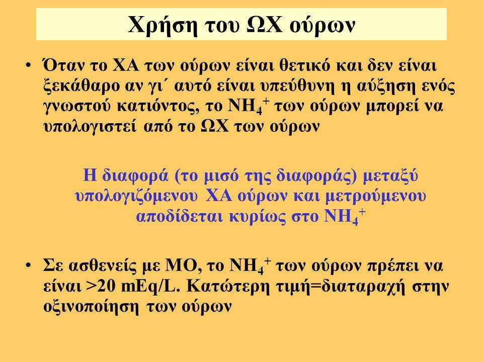 Χρήση του ΩΧ ούρων Όταν το ΧΑ των ούρων είναι θετικό και δεν είναι ξεκάθαρο αν γι΄ αυτό είναι υπεύθυνη η αύξηση ενός γνωστού κατιόντος, το ΝΗ 4 + των