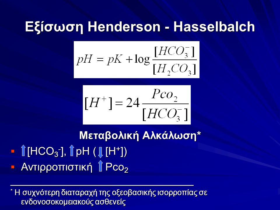 Εξίσωση Henderson - Hasselbalch Μεταβολική Αλκάλωση*  [HCO 3 - ], pH ( [H + ])  Αντιρροπιστική Pco 2 ______________________________ * Η συχνότερη δι