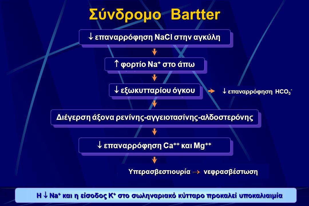 Σύνδρομο Bartter  επαναρρόφηση NaCl στην αγκύλη  φορτίο Na + στο άπω  εξωκυτταρίου όγκου Διέγερση άξονα ρενίνης-αγγειοτασίνης-αλδοστερόνης  επαναρρόφηση Ca ++ και Mg ++ Υπερασβεστιουρία  νεφρασβέστωση  επαναρρόφηση HCO 3 - H  Na + και η είσοδος Κ + στο σωληναριακό κύτταρο προκαλεί υποκαλιαιμία H  Na + και η είσοδος Κ + στο σωληναριακό κύτταρο προκαλεί υποκαλιαιμία