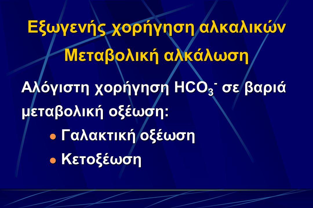 Εξωγενής χορήγηση αλκαλικών Μεταβολική αλκάλωση Αλόγιστη χορήγηση HCO 3 - σε βαριά μεταβολική οξέωση: Γαλακτική οξέωση Γαλακτική οξέωση Κετοξέωση Κετοξέωση