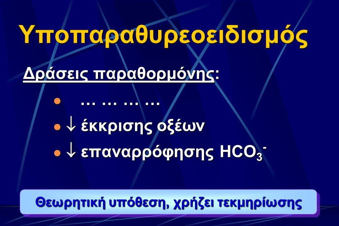 Υποπαραθυρεοειδισμός Δράσεις παραθορμόνης: … … … … … … … …  έκκρισης οξέων  έκκρισης οξέων  επαναρρόφησης ΗCΟ 3 -  επαναρρόφησης ΗCΟ 3 - Θεωρητική υπόθεση, χρήζει τεκμηρίωσης