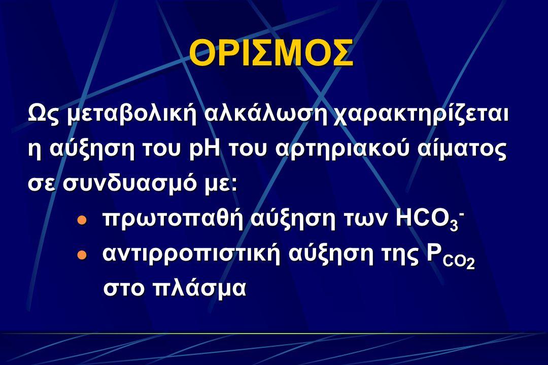 ΟΡΙΣΜΟΣ Ως μεταβολική αλκάλωση χαρακτηρίζεται η αύξηση του pH του αρτηριακού αίματος σε συνδυασμό με: πρωτοπαθή αύξηση των HCO 3 - πρωτοπαθή αύξηση των HCO 3 - αντιρροπιστική αύξηση της P CO 2 αντιρροπιστική αύξηση της P CO 2 στο πλάσμα στο πλάσμα