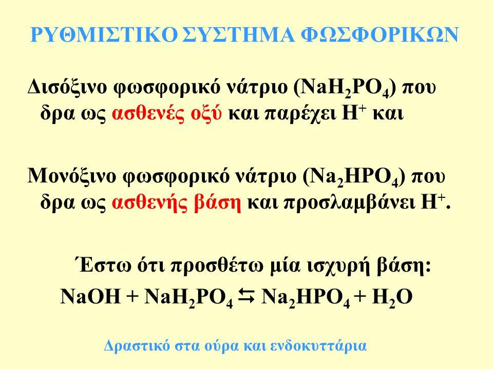 ΡΥΘΜΙΣΤΙΚΟ ΣΥΣΤΗΜΑ ΦΩΣΦΟΡΙΚΩΝ Δισόξινο φωσφορικό νάτριο (NaH 2 PO 4 ) που δρα ως ασθενές οξύ και παρέχει Η + και Μονόξινο φωσφορικό νάτριο (Na 2 HPO 4 ) που δρα ως ασθενής βάση και προσλαμβάνει Η +.