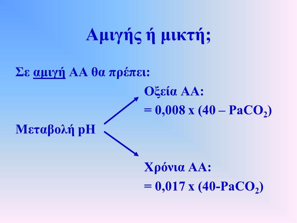 Αμιγής ή μικτή; Σε αμιγή ΑΑ θα πρέπει: Οξεία ΑΑ: = 0,008 x (40 – PaCO 2 ) Μεταβολή pH Χρόνια ΑΑ: = 0,017 x (40-PaCO 2 )