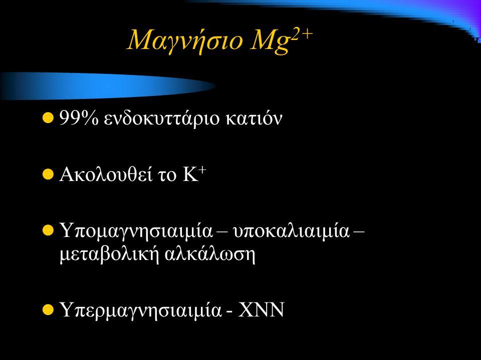 Μαγνήσιο Mg 2+ 99% ενδοκυττάριο κατιόν Ακολουθεί το Κ + Υπομαγνησιαιμία – υποκαλιαιμία – μεταβολική αλκάλωση Υπερμαγνησιαιμία - ΧΝN