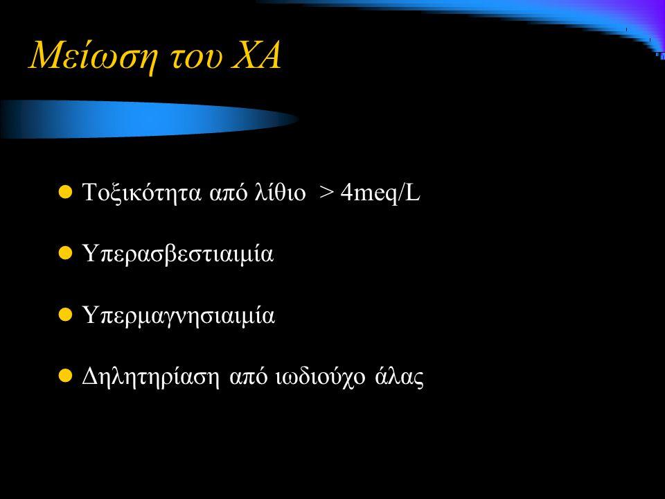 Μείωση του ΧΑ Τοξικότητα από λίθιο > 4meq/L Υπερασβεστιαιμία Υπερμαγνησιαιμία Δηλητηρίαση από ιωδιούχο άλας