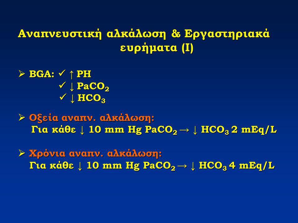 Αναπνευστική αλκάλωση & Εργαστηριακά ευρήματα (Ι)  BGA: ↑ PH ↓ PaCO 2 ↓ HCO 3  Οξεία αναπν. αλκάλωση: Για κάθε ↓ 10 mm Hg PaCO 2 → ↓ HCO 3 2 mEq/L 
