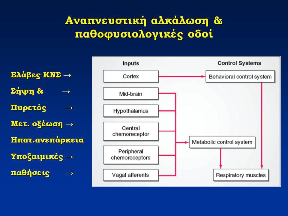 Αναπνευστική αλκάλωση & παθοφυσιολογικές οδοί Βλάβες ΚΝΣ → Σήψη& → Σήψη & → Πυρετός → Μετ. οξέωση → Ηπατ.ανεπάρκεια Υποξαιμικές → παθήσεις →