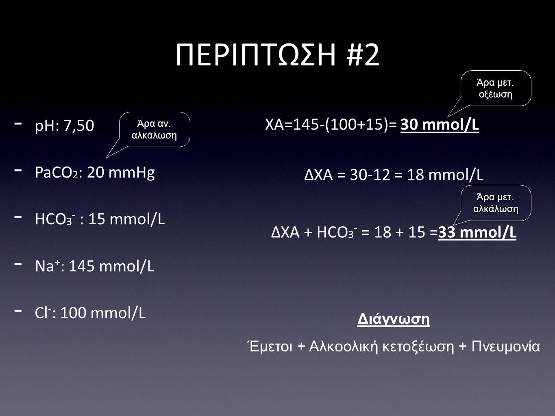 ΔΧΑ = 30-12 = 18 mmol/L ΠΕΡΙΠΤΩΣΗ #2 Διάγνωση Έμετοι + Αλκοολική κετοξέωση + Πνευμονία - pH: 7,50 - PaCO 2 : 20 mmHg - HCO 3 - : 15 mmol/L - Na + : 145 mmol/L - Cl - : 100 mmol/L ΧΑ=145-(100+15)= 30 mmol/L ΔΧΑ + HCO 3 - = 18 + 15 =33 mmol/L Άρα μετ.