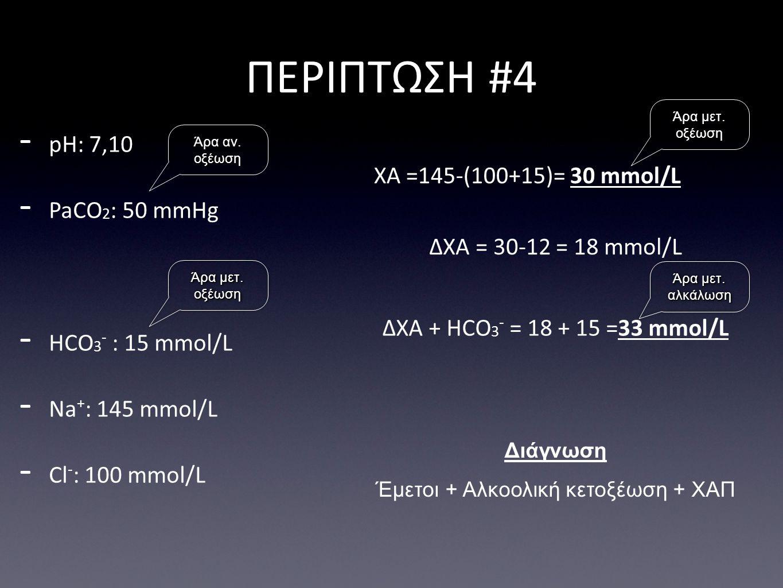 ΔΧΑ = 30-12 = 18 mmol/L ΠΕΡΙΠΤΩΣΗ #4 Διάγνωση Έμετοι + Αλκοολική κετοξέωση + ΧΑΠ - pH: 7,10 - PaCO 2 : 50 mmHg - HCO 3 - : 15 mmol/L - Na + : 145 mmol