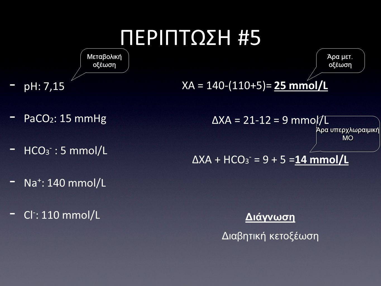 ΔΧΑ = 21-12 = 9 mmol/L ΠΕΡΙΠΤΩΣΗ #5 Διάγνωση Διαβητική κετοξέωση - pH: 7,15 - PaCO 2 : 15 mmHg - HCO 3 - : 5 mmol/L - Na + : 140 mmol/L - Cl - : 110 mmol/L ΧΑ = 140-(110+5)= 25 mmol/L ΔΧΑ + HCO 3 - = 9 + 5 =14 mmol/L Άρα μετ.