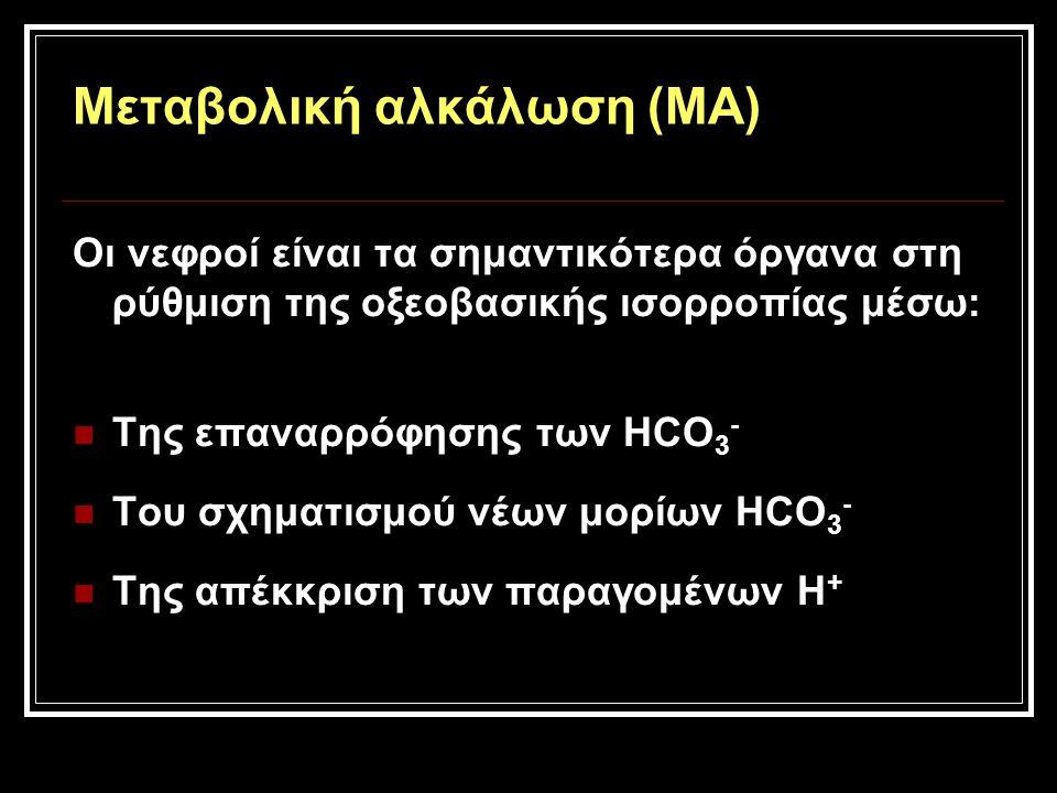 Μεταβολική αλκάλωση (ΜΑ) Οι νεφροί είναι τα σημαντικότερα όργανα στη ρύθμιση της οξεοβασικής ισορροπίας μέσω: Της επαναρρόφησης των HCO 3 - Του σχηματ