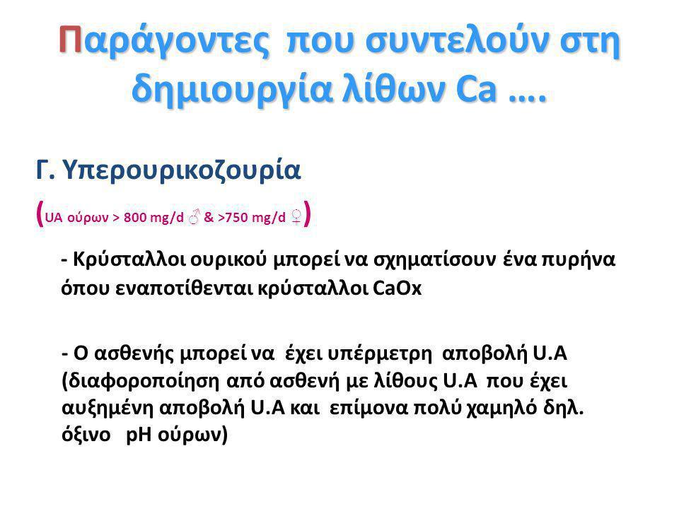 ♂♀ Υπεροξαλουρία (U Ox > 45 mg/d) Μπορεί να βρεθεί στο 40% λιθιασικών ♂, 15% ♀ Αυξημένη παραγωγή ενδογενών οξαλικών (μεταβολισμός γλυκίνης, Vit C) Αυξ