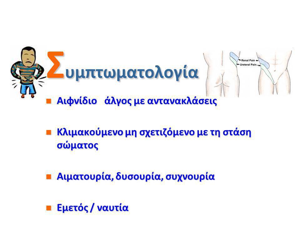 Σ υμπτωματολογία κωλικού Αιφνίδιο άλγος με αντανακλάσεις Αιφνίδιο άλγος με αντανακλάσεις Κλιμακούμενο μη σχετιζόμενο με τη στάση σώματος Κλιμακούμενο μη σχετιζόμενο με τη στάση σώματος Αιματουρία, δυσουρία, συχνουρία Αιματουρία, δυσουρία, συχνουρία Εμετός / ναυτία Εμετός / ναυτία