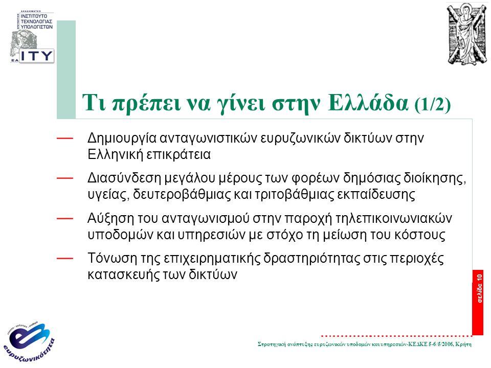 Στρατηγική ανάπτυξης ευρυζωνικών υποδομών και υπηρεσιών-ΚΕΔΚΕ 5-6/5/2006, Κρήτη σελίδα 10 Τι πρέπει να γίνει στην Ελλάδα (1/2) — Δημιουργία ανταγωνιστικών ευρυζωνικών δικτύων στην Ελληνική επικράτεια — Διασύνδεση μεγάλου μέρους των φορέων δημόσιας διοίκησης, υγείας, δευτεροβάθμιας και τριτοβάθμιας εκπαίδευσης — Αύξηση του ανταγωνισμού στην παροχή τηλεπικοινωνιακών υποδομών και υπηρεσιών με στόχο τη μείωση του κόστους — Τόνωση της επιχειρηματικής δραστηριότητας στις περιοχές κατασκευής των δικτύων