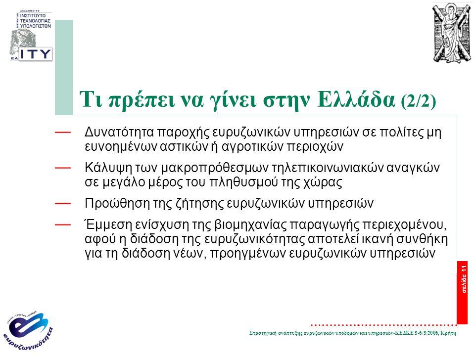 Στρατηγική ανάπτυξης ευρυζωνικών υποδομών και υπηρεσιών-ΚΕΔΚΕ 5-6/5/2006, Κρήτη σελίδα 11 Τι πρέπει να γίνει στην Ελλάδα (2/2) — Δυνατότητα παροχής ευρυζωνικών υπηρεσιών σε πολίτες μη ευνοημένων αστικών ή αγροτικών περιοχών — Κάλυψη των μακροπρόθεσμων τηλεπικοινωνιακών αναγκών σε μεγάλο μέρος του πληθυσμού της χώρας — Προώθηση της ζήτησης ευρυζωνικών υπηρεσιών — Έμμεση ενίσχυση της βιομηχανίας παραγωγής περιεχομένου, αφού η διάδοση της ευρυζωνικότητας αποτελεί ικανή συνθήκη για τη διάδοση νέων, προηγμένων ευρυζωνικών υπηρεσιών