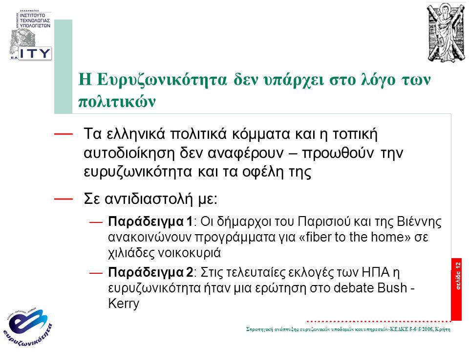 Στρατηγική ανάπτυξης ευρυζωνικών υποδομών και υπηρεσιών-ΚΕΔΚΕ 5-6/5/2006, Κρήτη σελίδα 12 Η Ευρυζωνικότητα δεν υπάρχει στο λόγο των πολιτικών — Τα ελληνικά πολιτικά κόμματα και η τοπική αυτοδιοίκηση δεν αναφέρουν – προωθούν την ευρυζωνικότητα και τα οφέλη της — Σε αντιδιαστολή με: —Παράδειγμα 1: Οι δήμαρχοι του Παρισιού και της Βιέννης ανακοινώνουν προγράμματα για «fiber to the home» σε χιλιάδες νοικοκυριά —Παράδειγμα 2: Στις τελευταίες εκλογές των ΗΠΑ η ευρυζωνικότητα ήταν μια ερώτηση στο debate Bush - Kerry