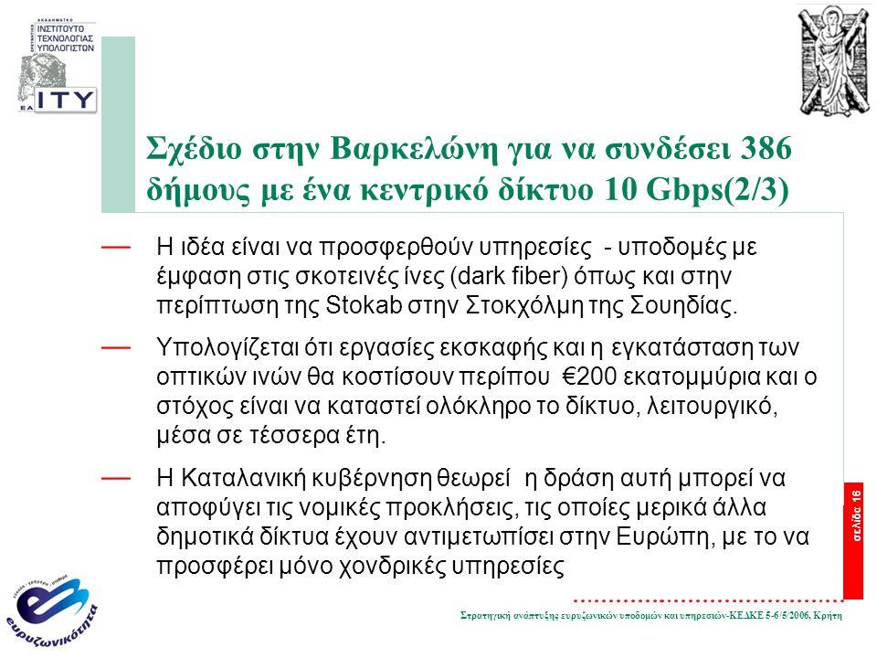 Στρατηγική ανάπτυξης ευρυζωνικών υποδομών και υπηρεσιών-ΚΕΔΚΕ 5-6/5/2006, Κρήτη σελίδα 16 Σχέδιο στην Βαρκελώνη για να συνδέσει 386 δήμους με ένα κεντ