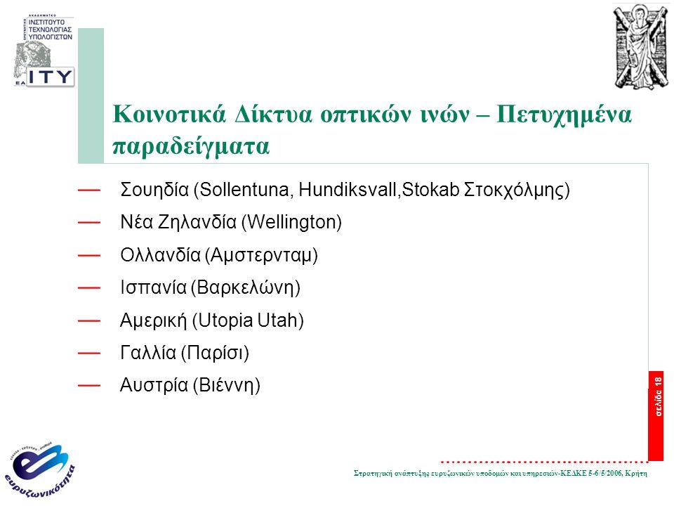 Στρατηγική ανάπτυξης ευρυζωνικών υποδομών και υπηρεσιών-ΚΕΔΚΕ 5-6/5/2006, Κρήτη σελίδα 18 Κοινοτικά Δίκτυα οπτικών ινών – Πετυχημένα παραδείγματα — Σουηδία (Sollentuna, Hundiksvall,Stokab Στοκχόλμης) — Νέα Ζηλανδία (Wellington) — Ολλανδία (Αμστερνταμ) — Ισπανία (Βαρκελώνη) — Αμερική (Utopia Utah) — Γαλλία (Παρίσι) — Αυστρία (Βιέννη)