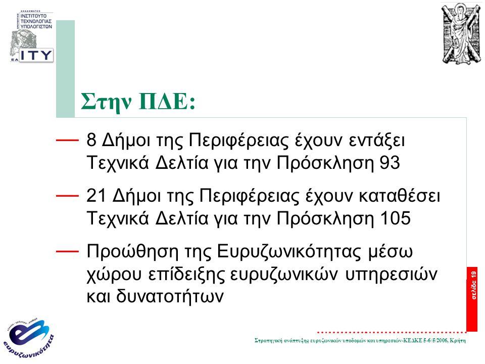 Στρατηγική ανάπτυξης ευρυζωνικών υποδομών και υπηρεσιών-ΚΕΔΚΕ 5-6/5/2006, Κρήτη σελίδα 19 Στην ΠΔΕ: — 8 Δήμοι της Περιφέρειας έχουν εντάξει Τεχνικά Δε