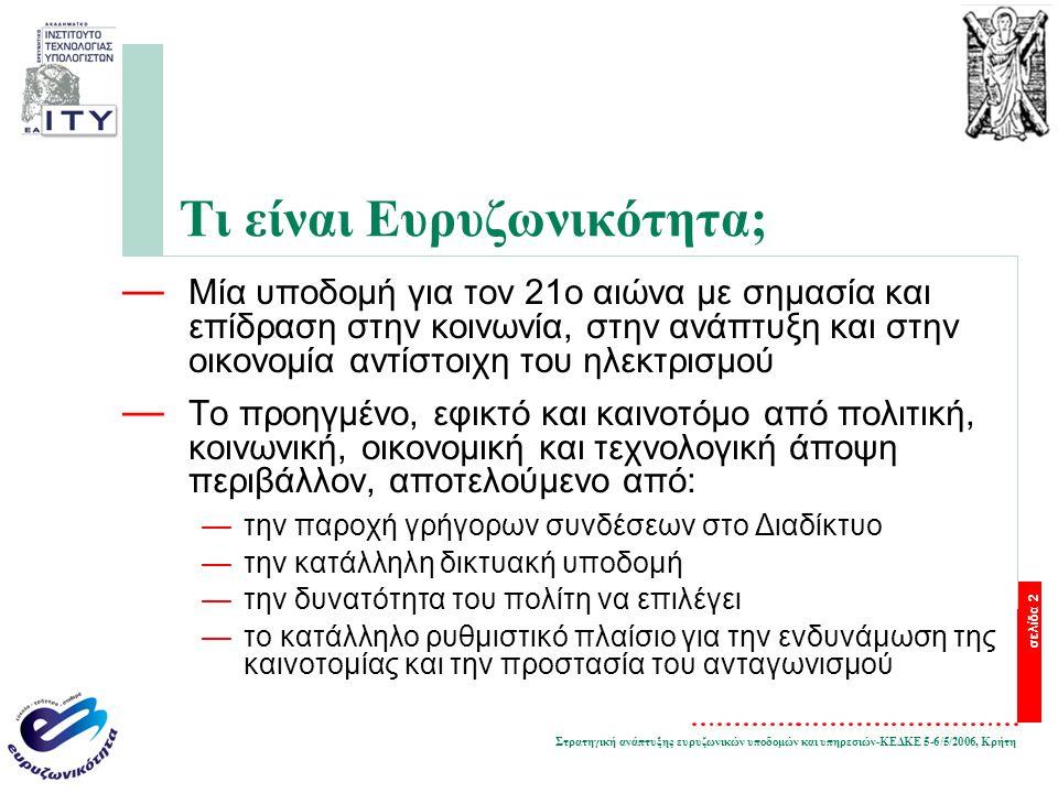 Στρατηγική ανάπτυξης ευρυζωνικών υποδομών και υπηρεσιών-ΚΕΔΚΕ 5-6/5/2006, Κρήτη σελίδα 2 Τι είναι Ευρυζωνικότητα; — Μία υποδομή για τον 21ο αιώνα με σημασία και επίδραση στην κοινωνία, στην ανάπτυξη και στην οικονομία αντίστοιχη του ηλεκτρισμού — Το προηγμένο, εφικτό και καινοτόμο από πολιτική, κοινωνική, οικονομική και τεχνολογική άποψη περιβάλλον, αποτελούμενο από: —την παροχή γρήγορων συνδέσεων στο Διαδίκτυο —την κατάλληλη δικτυακή υποδομή —την δυνατότητα του πολίτη να επιλέγει —το κατάλληλο ρυθμιστικό πλαίσιο για την ενδυνάμωση της καινοτομίας και την προστασία του ανταγωνισμού