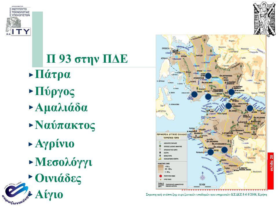 Στρατηγική ανάπτυξης ευρυζωνικών υποδομών και υπηρεσιών-ΚΕΔΚΕ 5-6/5/2006, Κρήτη σελίδα 20 Π 93 στην ΠΔΕ Πάτρα Πύργος Αμαλιάδα Ναύπακτος Αγρίνιο Μεσολό