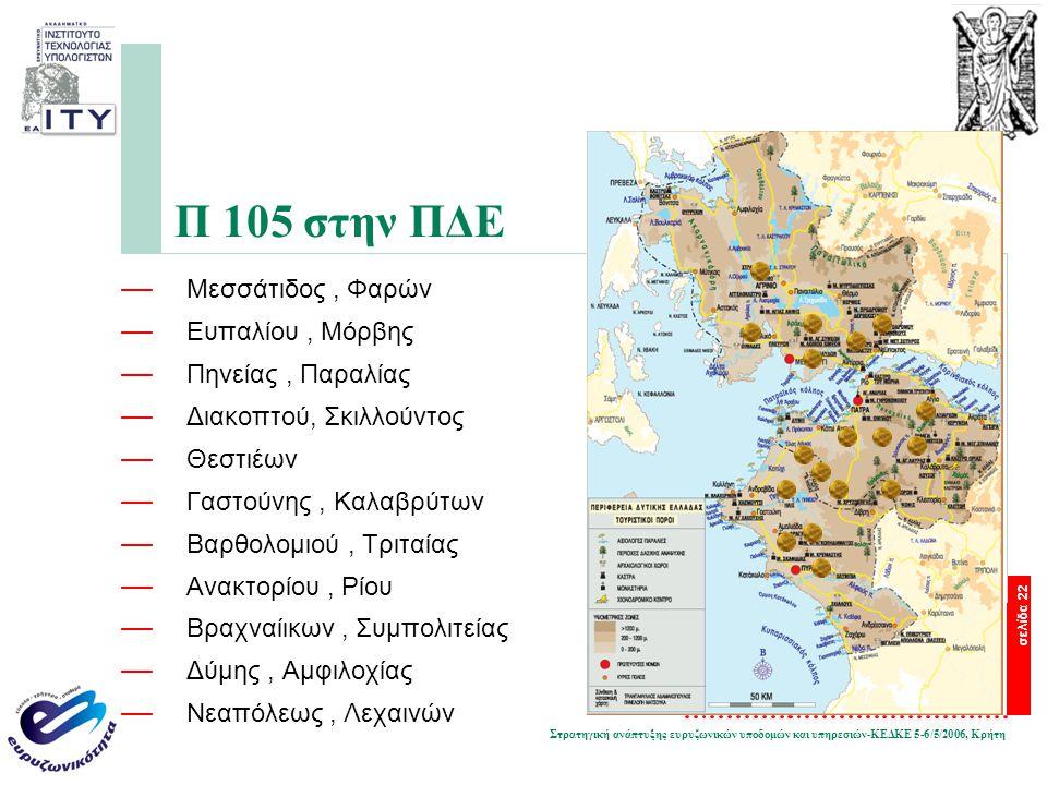 Στρατηγική ανάπτυξης ευρυζωνικών υποδομών και υπηρεσιών-ΚΕΔΚΕ 5-6/5/2006, Κρήτη σελίδα 22 Π 105 στην ΠΔΕ — Μεσσάτιδος, Φαρών — Ευπαλίου, Μόρβης — Πηνε