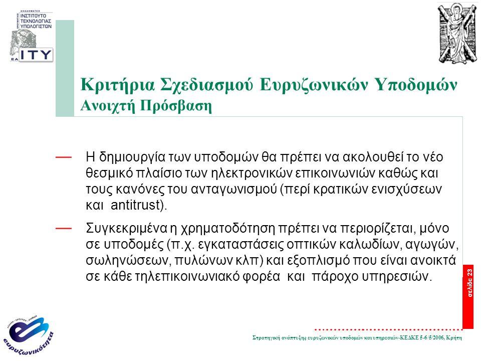Στρατηγική ανάπτυξης ευρυζωνικών υποδομών και υπηρεσιών-ΚΕΔΚΕ 5-6/5/2006, Κρήτη σελίδα 23 Κριτήρια Σχεδιασμού Ευρυζωνικών Υποδομών Ανοιχτή Πρόσβαση — Η δημιουργία των υποδομών θα πρέπει να ακολουθεί το νέο θεσμικό πλαίσιο των ηλεκτρονικών επικοινωνιών καθώς και τους κανόνες του ανταγωνισμού (περί κρατικών ενισχύσεων και antitrust).