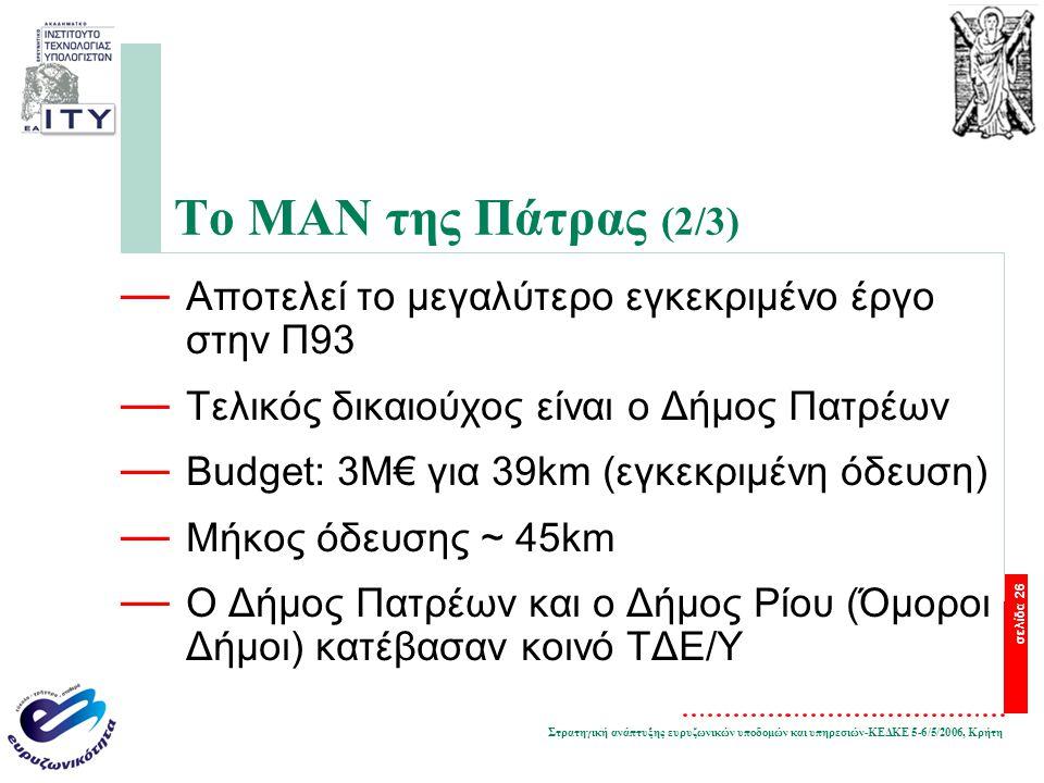 Στρατηγική ανάπτυξης ευρυζωνικών υποδομών και υπηρεσιών-ΚΕΔΚΕ 5-6/5/2006, Κρήτη σελίδα 26 Το ΜΑΝ της Πάτρας (2/3) — Αποτελεί το μεγαλύτερο εγκεκριμένο έργο στην Π93 — Τελικός δικαιούχος είναι ο Δήμος Πατρέων — Budget: 3Μ€ για 39km (εγκεκριμένη όδευση) — Μήκος όδευσης ~ 45km — Ο Δήμος Πατρέων και ο Δήμος Ρίου (Όμοροι Δήμοι) κατέβασαν κοινό ΤΔΕ/Υ