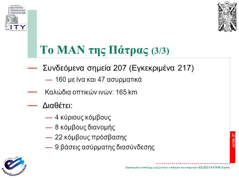 Στρατηγική ανάπτυξης ευρυζωνικών υποδομών και υπηρεσιών-ΚΕΔΚΕ 5-6/5/2006, Κρήτη σελίδα 27 Το ΜΑΝ της Πάτρας (3/3) — Συνδεόμενα σημεία 207 (Εγκεκριμένα 217) —160 με ίνα και 47 ασυρματικά — Καλώδια οπτικών ινών: 165 km — Διαθέτει: —4 κύριους κόμβους —8 κόμβους διανομής —22 κόμβους πρόσβασης —9 βάσεις ασύρματης διασύνδεσης
