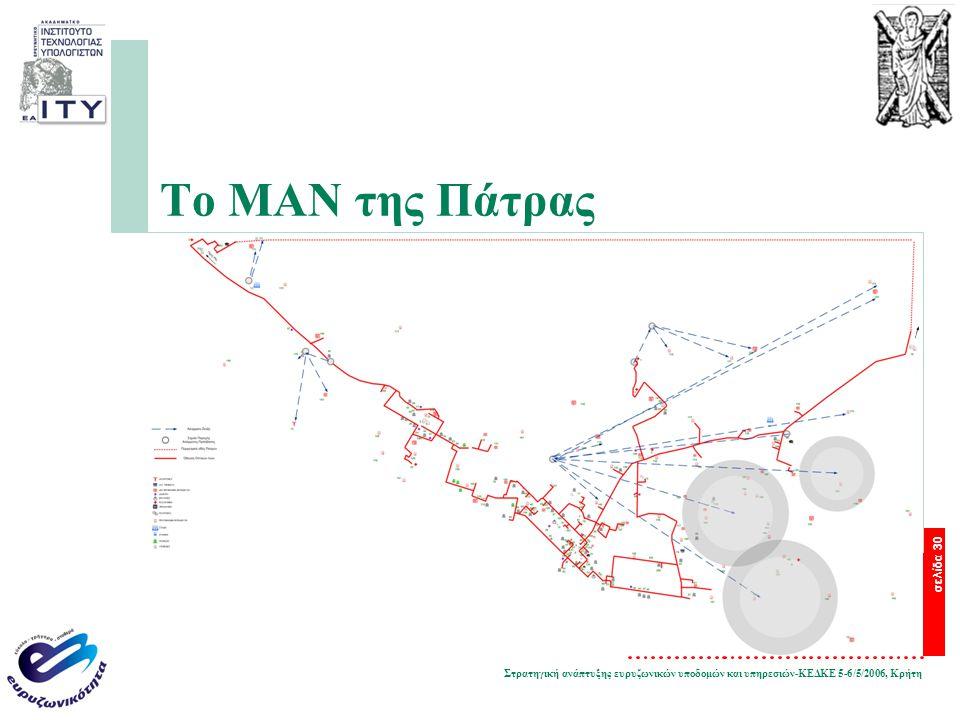 Στρατηγική ανάπτυξης ευρυζωνικών υποδομών και υπηρεσιών-ΚΕΔΚΕ 5-6/5/2006, Κρήτη σελίδα 30 Το ΜΑΝ της Πάτρας