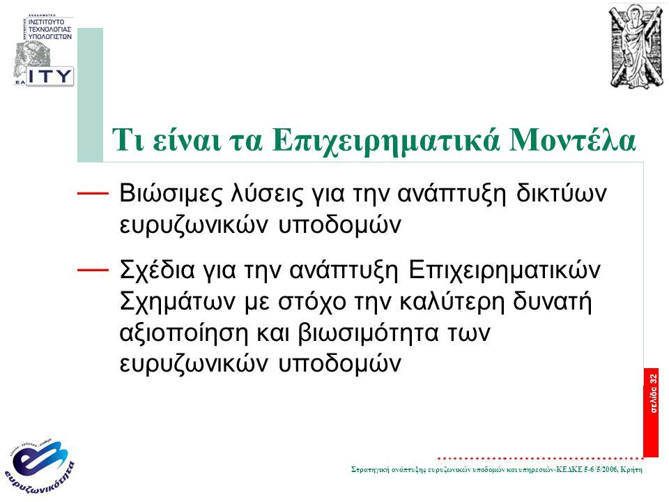 Στρατηγική ανάπτυξης ευρυζωνικών υποδομών και υπηρεσιών-ΚΕΔΚΕ 5-6/5/2006, Κρήτη σελίδα 32 Τι είναι τα Επιχειρηματικά Μοντέλα — Βιώσιμες λύσεις για την ανάπτυξη δικτύων ευρυζωνικών υποδομών — Σχέδια για την ανάπτυξη Επιχειρηματικών Σχημάτων με στόχο την καλύτερη δυνατή αξιοποίηση και βιωσιμότητα των ευρυζωνικών υποδομών