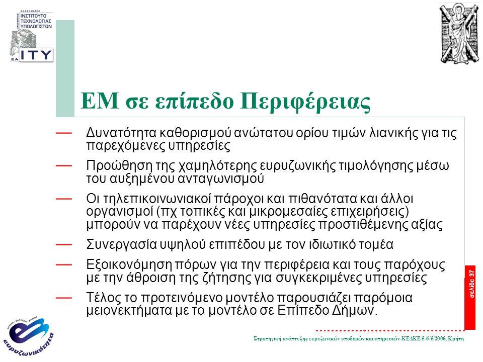 Στρατηγική ανάπτυξης ευρυζωνικών υποδομών και υπηρεσιών-ΚΕΔΚΕ 5-6/5/2006, Κρήτη σελίδα 37 ΕΜ σε επίπεδο Περιφέρειας — Δυνατότητα καθορισμού ανώτατου ορίου τιμών λιανικής για τις παρεχόμενες υπηρεσίες — Προώθηση της χαμηλότερης ευρυζωνικής τιμολόγησης μέσω του αυξημένου ανταγωνισμού — Οι τηλεπικοινωνιακοί πάροχοι και πιθανότατα και άλλοι οργανισμοί (πχ τοπικές και μικρομεσαίες επιχειρήσεις) μπορούν να παρέχουν νέες υπηρεσίες προστιθέμενης αξίας — Συνεργασία υψηλού επιπέδου με τον ιδιωτικό τομέα — Εξοικονόμηση πόρων για την περιφέρεια και τους παρόχους με την άθροιση της ζήτησης για συγκεκριμένες υπηρεσίες — Τέλος το προτεινόμενο μοντέλο παρουσιάζει παρόμοια μειονεκτήματα με το μοντέλο σε Επίπεδο Δήμων.