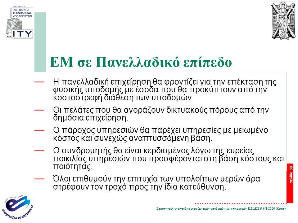 Στρατηγική ανάπτυξης ευρυζωνικών υποδομών και υπηρεσιών-ΚΕΔΚΕ 5-6/5/2006, Κρήτη σελίδα 38 ΕΜ σε Πανελλαδικό επίπεδο — Η πανελλαδική επιχείρηση θα φροντίζει για την επέκταση της φυσικής υποδομής με έσοδα που θα προκύπτουν από την κοστοστρεφή διάθεση των υποδομών.