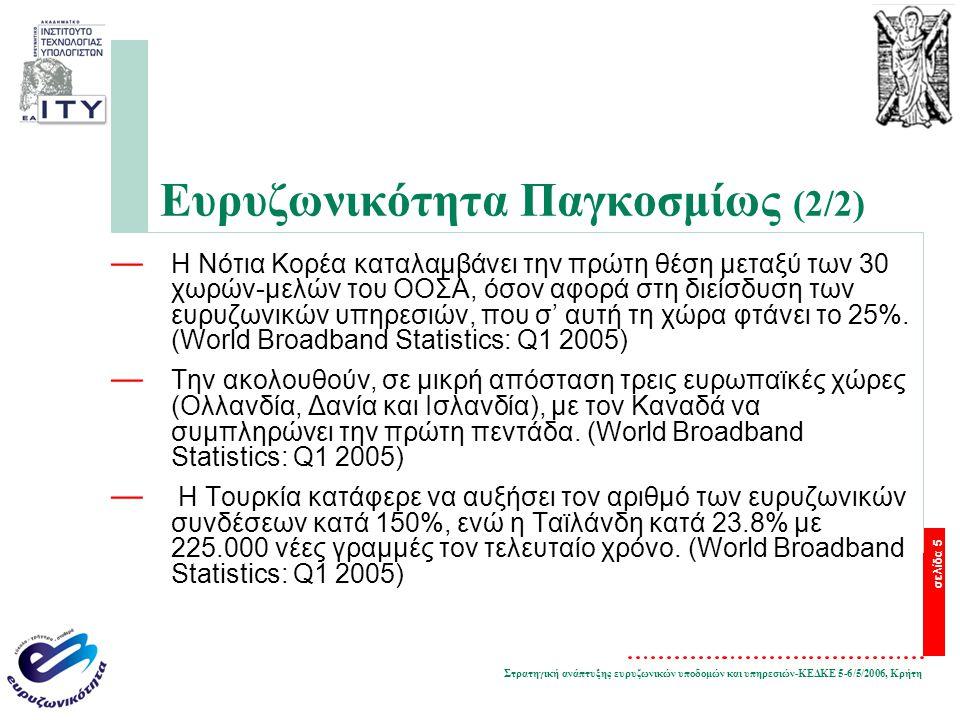 Στρατηγική ανάπτυξης ευρυζωνικών υποδομών και υπηρεσιών-ΚΕΔΚΕ 5-6/5/2006, Κρήτη σελίδα 5 Ευρυζωνικότητα Παγκοσμίως (2/2) — Η Νότια Κορέα καταλαμβάνει την πρώτη θέση μεταξύ των 30 χωρών-μελών του ΟΟΣΑ, όσον αφορά στη διείσδυση των ευρυζωνικών υπηρεσιών, που σ' αυτή τη χώρα φτάνει το 25%.