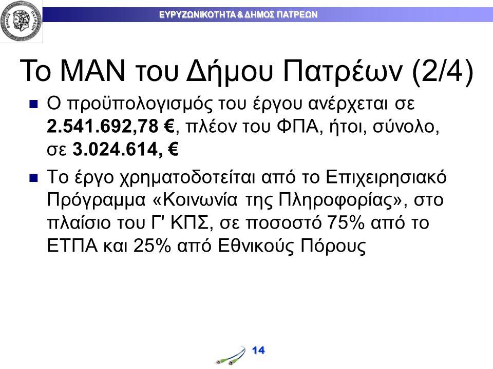 ΕΥΡΥΖΩΝΙΚΟΤΗΤΑ & ΔΗΜΟΣ ΠΑΤΡΕΩΝ 14 Ο προϋπολογισμός του έργου ανέρχεται σε 2.541.692,78 €, πλέον του ΦΠΑ, ήτοι, σύνολο, σε 3.024.614, € Το έργο χρηματοδοτείται από το Επιχειρησιακό Πρόγραμμα «Κοινωνία της Πληροφορίας», στο πλαίσιο του Γ ΚΠΣ, σε ποσοστό 75% από το ΕΤΠΑ και 25% από Εθνικούς Πόρους Το ΜΑΝ του Δήμου Πατρέων (2/4)
