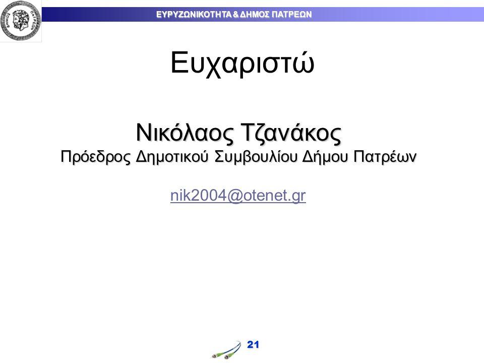 ΕΥΡΥΖΩΝΙΚΟΤΗΤΑ & ΔΗΜΟΣ ΠΑΤΡΕΩΝ 21 Ευχαριστώ Νικόλαος Τζανάκος Πρόεδρος Δημοτικού Συμβουλίου Δήμου Πατρέων nik2004@otenet.gr
