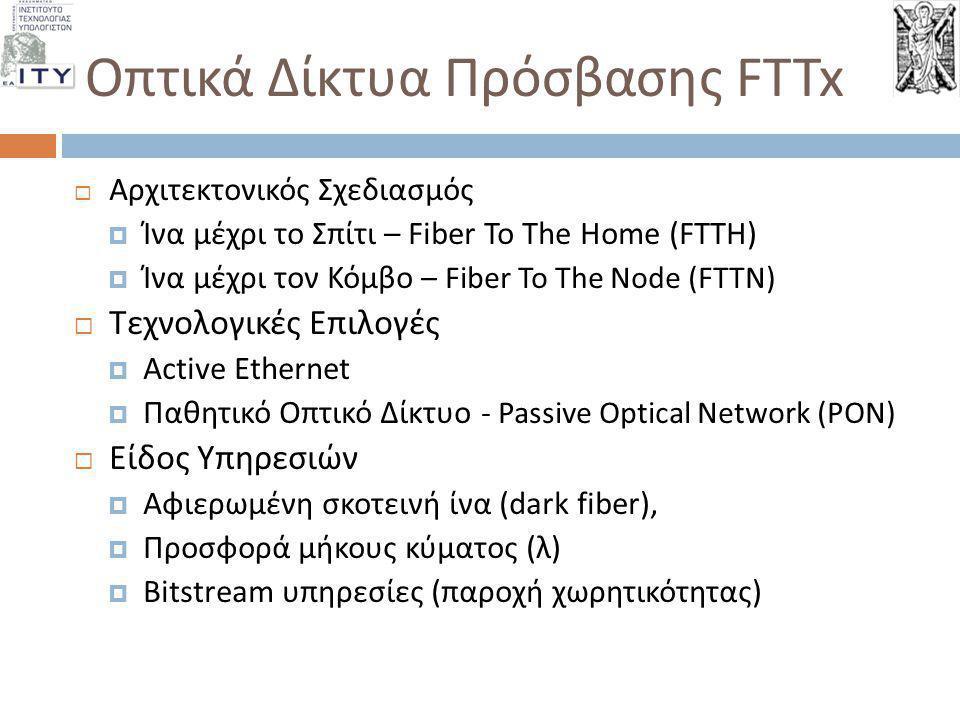  Αρχιτεκτονικός Σχεδιασμός  Ίνα μέχρι το Σπίτι – Fiber To The Home ( FTTH )   Ίνα μέχρι τον Κόμβο – Fiber To The Node ( FTTN )   Τεχνολογικές Επ