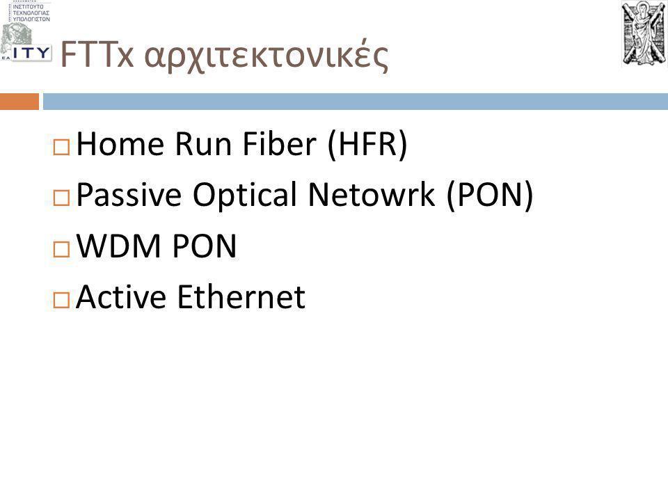 FTTx αρχιτεκτονικές  Home Run Fiber (HFR)  Passive Optical Netowrk (PON)  WDM PON  Active Ethernet