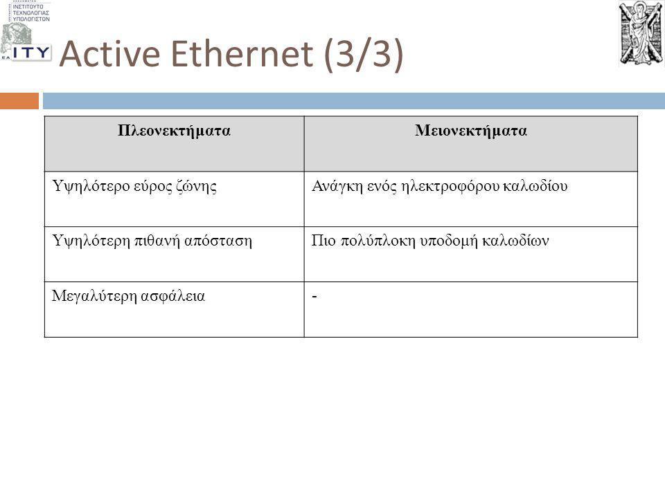Active Ethernet (3/3) ΠλεονεκτήματαΜειονεκτήματα Υψηλότερο εύρος ζώνηςΑνάγκη ενός ηλεκτροφόρου καλωδίου Υψηλότερη πιθανή απόστασηΠιο πολύπλοκη υποδομή