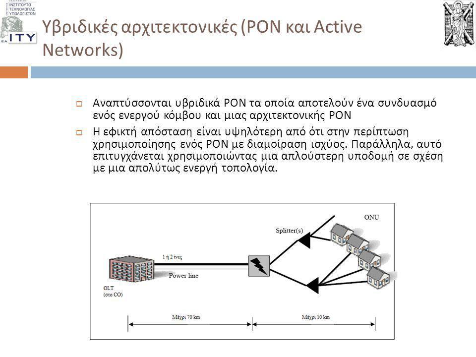 Reverse PON και Customer Owned Last Mile (1/3)  Υποδομές οπτικών ινών που συνδέουν τελικούς χρήστες και ανήκουν στους ίδιους  Η εφαρμογή της ιδέας αυτής έχει αρχίσει να δοκιμάζεται σε διάφορα projects και πιλοτικές δράσεις ανα τον κόσμο  Εισάγει αναγκαστικά την δημιουργία ανοικτών κόμβων συνεγκατάστασης (carrier neutral colo facilities), όπου οι « ιδιωτικές » οπτικές ίνες των τελικών χρηστών διασυνδέονται και δρομολογούν υπηρεσίες από τους service providers  Reverse PON: η αντιστροφή της κλασικής αρχιτεκτονικής PON, με τον εξοπλισμό του πελάτη να παρέχει διακριτές « συνδέσεις » με διάφορους service providers